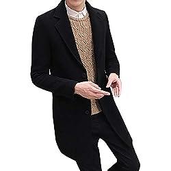 Bestow Hombres Formal Un Solo Botonadura Abrigo Abrigo Chaqueta Larga de Lana Abrigo de Lana de Gran tamaño Delgado Color Medio sólido(Negro,XL)