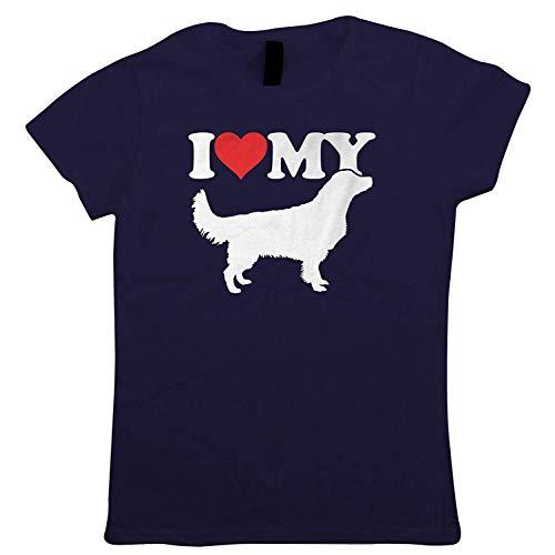 Herr Show Shirt (I Love My Golden Retriever Damen T-Shirts Hund Geschenk Pelz Baby Geliebten Eigentümer Herren Best Friend Handwerkskünste Hund Show Hundehütte Verein Pedigree Rasse Welpe Hunde Geschenk Sie Mum)