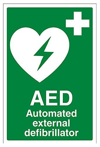 vsafety 31033au-s AED Automatiesierter Externer Defibrillator Erste Hilfe Allgemeine Zeichen, selbstklebend, Portrait, 200mm x 300mm, grün