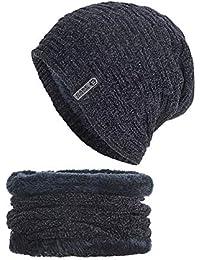ALIKEEY 2 Piezas De Invierno Gorro Gorro Bufanda Conjunto Cálido Sombrero  De Punto De Punto Grueso 91aaed494dcf