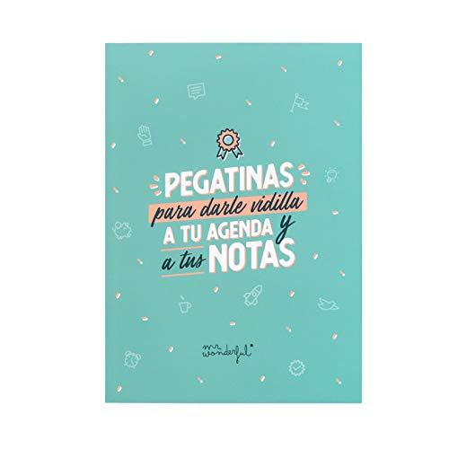 Mr Wonderful - Libreta de Pegatinas para Darle Vidilla a Tu Agenda y a Tus Notas, 16,5 x 23 x 0,8 cm, Azul
