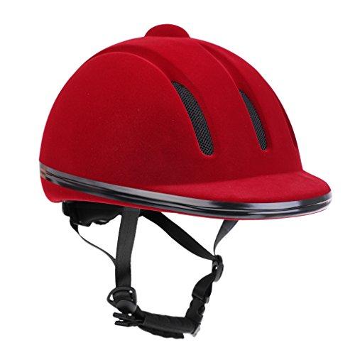 MagiDeal Samt Reithelm - Verstellbar und Komfort, Reiten Schutzausrüstung - elegant, Neues Design - Rot, L