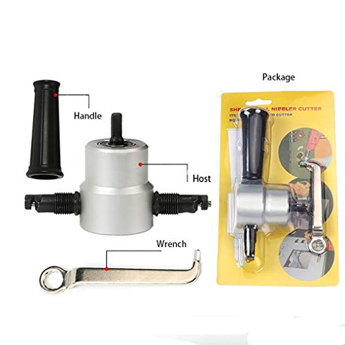 GYKFY Doppelkopf-Nibbler Professioneller Bohrvorsatz für das gerade und kreisförmige Schneiden von Metall 8 Gauge Power Kit