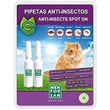 MEN FOR SAN 54118MFG063 2 Pipetas Antiinsectos para Gatos con Margosa, Geraniol y Lavandino
