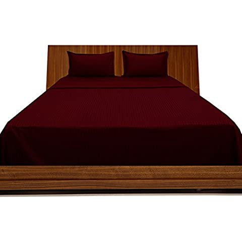 BudgetLinen 4PCs Sheet Set (Burdeos raya , Rey Size150 x 200 cm (5' 6'' x 6') , Pocket Size 30cm) 100 % de algodón egipcio Calidad premium 300 número de