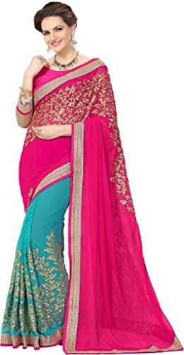 Sunshine Fashion Blue & Pink Color Georgette & Raw Silk Fabric Embroidery Saree ( New Arrival Latest Best Design Beautiful Dresses Material Collection For Women and Girl Party wear Festival wear Special Function Events Wear In Low Price With High Demand Todays Special Offer and Deals with Fancy Designer and Bollywood Collection 2017 Punjabi Anarkali Chudidar Patialas Plazo pattern Suits )