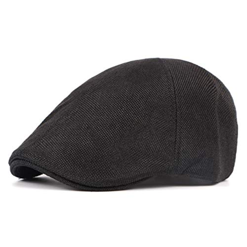 BRAlbert viele Typen Unisex Fashion Uk Beret Hat Lvy Hat Linen Cap Golf Driving Flat Cabbie Hat Peaked Cap(None Black)