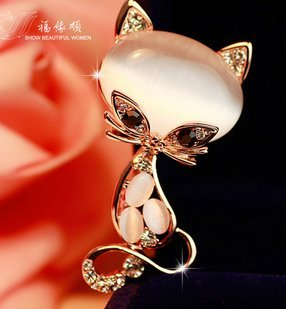 Süße Katze exquisite Wilde koreanischen broschen Frau geschaffen Das Tier korsage schal - accessoires(Kleine weiße (Katze Anzug Frau)
