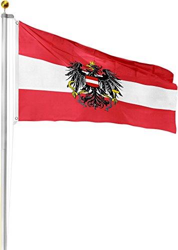 Aluminium Fahnenmast 6,20 6,80 oder 7,50 meter Höhe inkl. Deutschlandfahne mit Adler oder Österreich 90x150 Farbe Österreich Größe 6.2 Meter