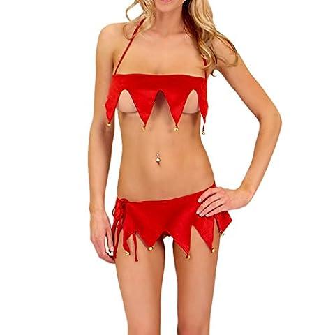 Bekleidung Loveso Underwear Damen Charmant Rot lingerie Clown Kleidung Bra Underpant Bodysuit Weihnachten Party Kostüm Unterwäsche (Bra BH + (Square Pants Kostüm)