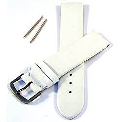 White 24mm Flat Leather Watch Strap without Stitching