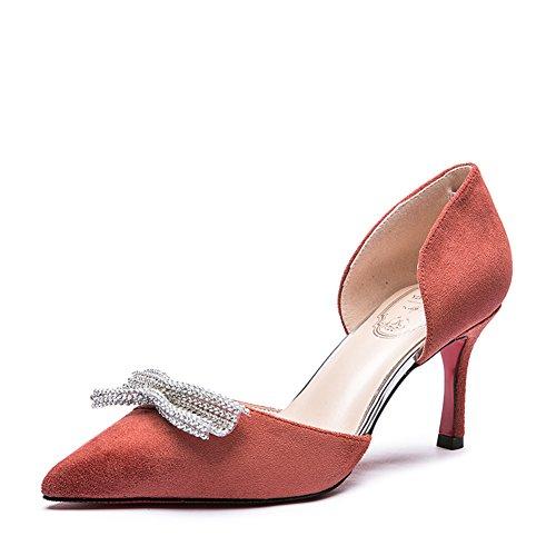 Lady talons hauts printemps doux strass ARC/Latérale stiletto haut talon pointu chaussures B