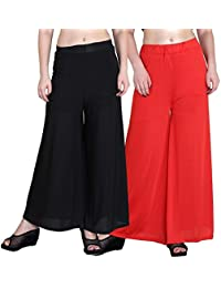 Mango People Products Indian Ethnic Rayon Designer Plain Casual Wear Palazzo Pant For Women's ( Black And Orange...