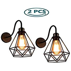 GENGJ-lampe 2 Pack Lámpara De Pared Vintage Industrial Diamante Negro Jaula Metal Techo Accesorio De Iluminación Retro Aplique Decoración Interior para Sala De Estar Cocina Pasillo Dormitorio Cafe