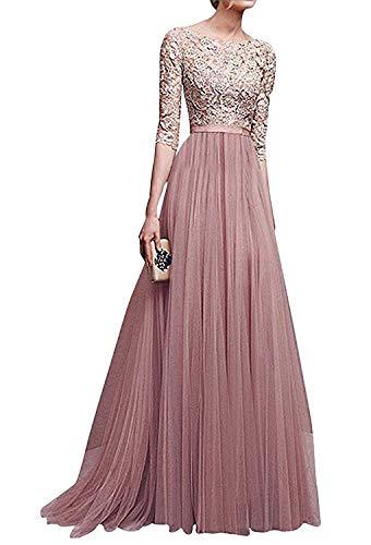 Minetom Donna Vestito Lungo Abito da Cerimonia Elegante Vestiti da Matrimonio Lunghi Formale Banchetto Sera Maxi Dress Pizzo Rosa IT 40