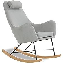 Designer Schaukel Stuhl Aus Stoff Mit Armlehnen Grau | Rocha |Gemütlicher  Lounge Sessel