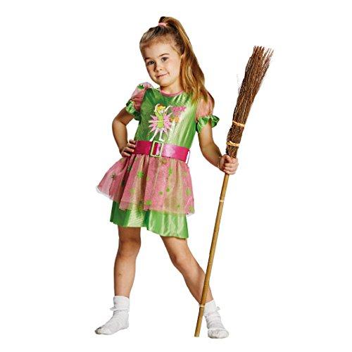 Bibi Blocksberg Kinderkostüm Lizenzware grün rosa 128 (Rosa Und Grün Hexe Kostüm)