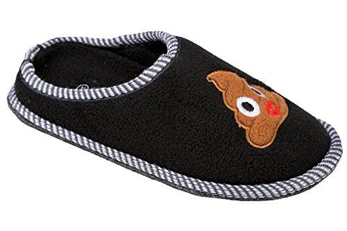 """GIBRA® Emoji Pantoffeln Hausschuhe """"Haufen Kussmund"""", schwarz, Gr. 41"""