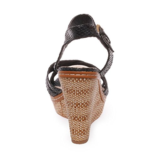La Modeuse Sandales Femme en Simili Cuir Noir