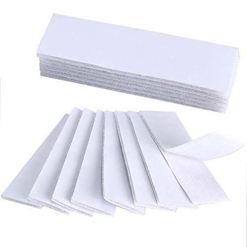KINDPMA 16Pcs Klettband Selbstklebend Klettverschluss Klett Klebeband Weiß Flauschband Doppelseitig Hakenband zum Kleben Klettband für Stoff Fliegengitter Spiegel, 30mm x 100mm