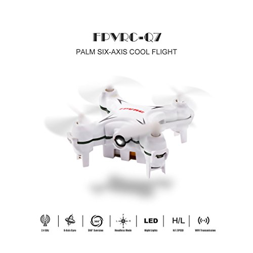 FPVRC Mini RC Quadcopter Drone Hubschrauber Flugzeug UFO Q7 Vierachs 4 Kanal 6 Achsen Gyro Headless Modus RC Nano Quadcopter Mini Concentration Drone Neue Flying Toy mit 3D-Pick out one's uncaring-blooded & Whirl LED-Licht Weiß