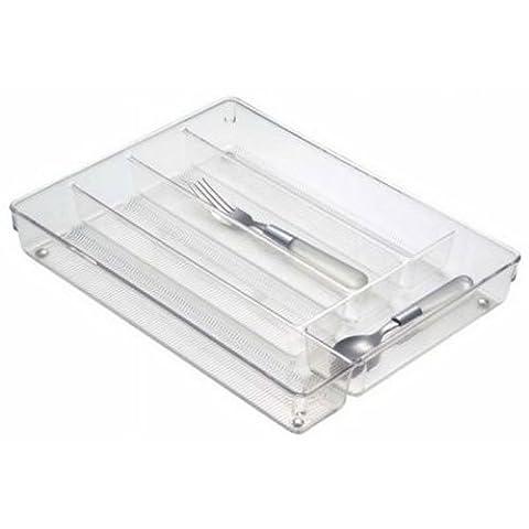 InterDesign Linus Kitchen Drawer Flatware and Cutlery Organizer, Clear