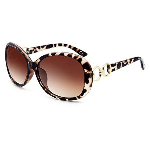 BLEVET Klassisch Groß Damen Sonnenbrille Polarisiert 100% UV-Schutz (Leopard Frame Brown Lens)
