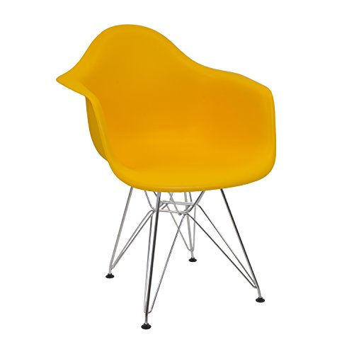 Silla Eames amarilla con brazos fijos