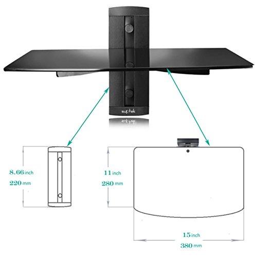comprare on line Suptek Mensola galleggiante nera singola con vetro temperato rinforzato per lettori DVD / cavi di cavo / console per videogiochi / accessori per TV 1 ripiano, nero CS201 prezzo