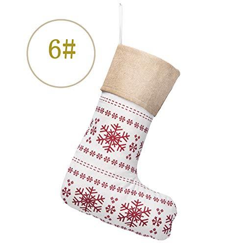 (Extra Groß) 2017New Baumwolle Urlaub Big Gingham Familie Weihnachten Strümpfe Weihnachten Ornament (1Pack) 16-Zoll X 30,5cm #6 Snowflakes Pattern (Familie Strümpfe Weihnachten)