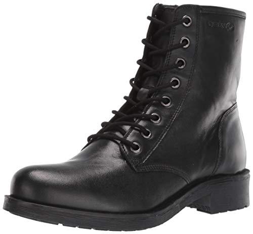 Geox Damen Elthan Girl 5 Shoe Dual Riptape Straps Rawelle 3 Nappaleder Militärstiefel mit seitlichem Reißverschluss, Schwarz, 39 EU / 9 M, Black Oxford