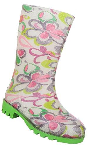 Schuhcity24 Kinderschuhe Stiefel Mädchen Gummi Regenstiefel Grün Rosa 31
