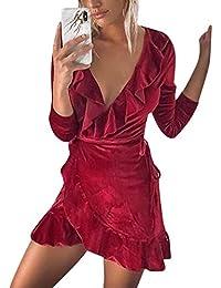 Minivestido Sexy con Cuello en V y Volantes asimétricos de Manga Larga con  Terciopelo para Mujer 4dec4bec1d53