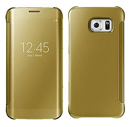 Sparkling Trends Clear View Mirror Flip Smart Cover Case for Samsung Galaxy S6 Edge PLUS Golden