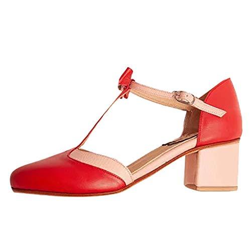 Ferse Damen Süße Schuhe (BURFLF Mode Damen Schuhe, Frauen Süss Rome Runder Zeh Schmetterling Knoten Quadrat Ferse High Heels Schuhe Einzelne Schuhe)