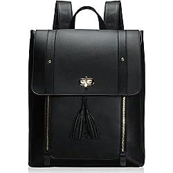 """Estarer Sacoche Ordinateur Portable 15.6"""" Sac à Dos Femme Cuir Noir Cartable Sac porté Dos Scolaire Fille Backpack"""