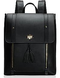 76af7e940467 Estarer Women PU Leather Backpack Black Laptop Rucksack 15.6 Inch Satchel  Bag for Work School