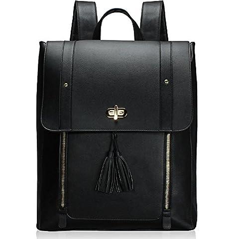 Estarer Women Black Backpack Handbag PU Leather Satchel Rucksack Laptop School Bag