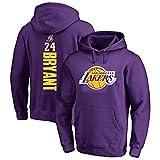 GRYUEN Homme Sweat à Capuche de Basket-Ball NBA Lakers 24# Kobe Bryant Sweat-Shirt de Basket-Ball Pull à Capuche