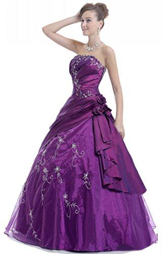 Faironly Frauen trägerlosen Abendkleid M37 (XXL, Lila)