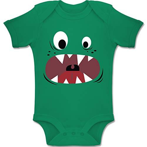 Shirtracer Karneval und Fasching Baby - Monster Kostüm Gesicht - 1-3 Monate - Grün - BZ10 - Baby Body Kurzarm Jungen ()