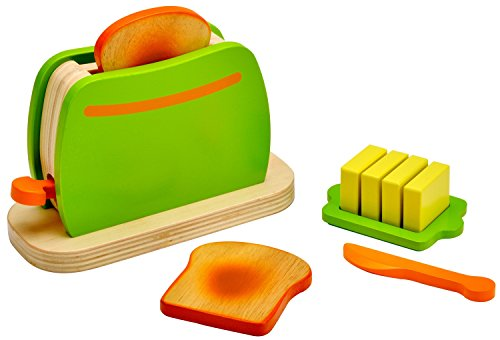 Küchenmeister Toaster aus Holz mit Zubehör, für Spielküche und Kaufmannsladen, ab 3 Jahre, ca. 16,5 x 7 x 11 cm ()