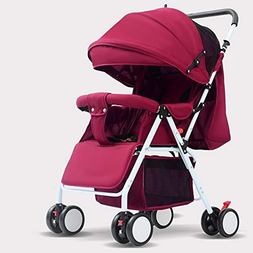 DFSSD Buggy-Kinderwagen, Kinderwagen, Abschließbares Drehrad, 5-Punkt-Sicherheitsgurt, Verstellbare Beinstütze Mit Sitzneigung in Mehreren Positionen, 600-Oxford-Stoff,Rot
