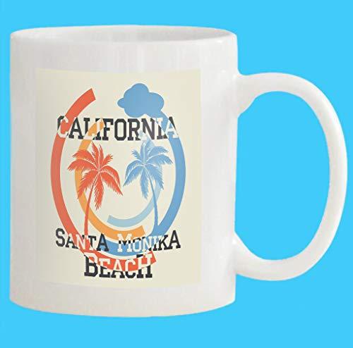 Custom Coffee Mug 11 Oz santa monika california beach typography sport emblem vintage wear print design White Ceramic Gifts Tea Cup