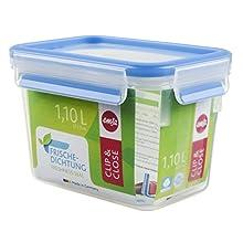 Emsa 508541 Clip & Close rectangular food storage container 1.1 litre, transparent/blue
