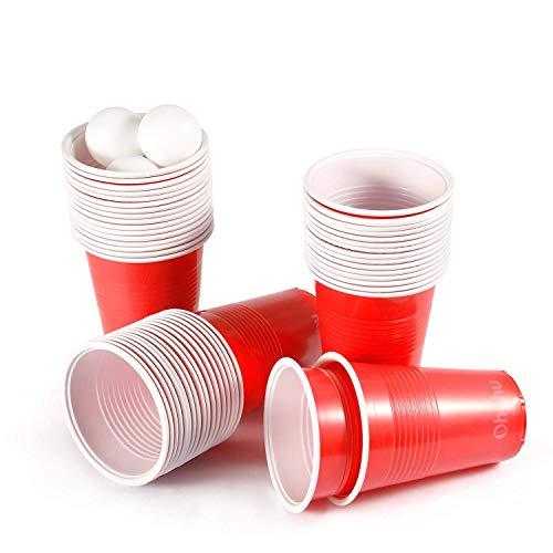 Ohuhu Party Becher, 100 Stück Beer Pong Kunststoff Einwegbecher American Party Becher mit 12 Bier Pong Set für Party Weihnachten Urlaub 16 Unze / 473 ML American-becher