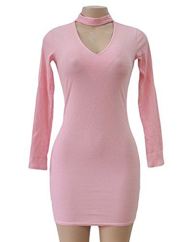 Donna Corto Abito a Tubino da Cerimonia Sera Partito Festa Banchetto Abiti di Colore Solido Mini Vestito in Maglieria Elegante Manica Lunga V Collo Vestiti Rosa
