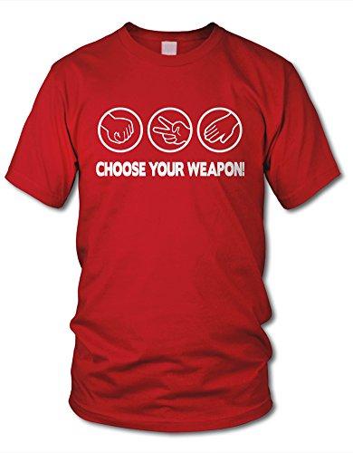 shirtloge - CHOOSE YOUR WEAPON! STEIN, SCHERE, PAPIER - KULT - Fun T-Shirt - in verschiedenen Farben & Größe Rot (Weiß)