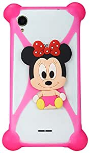Pink - Minnie Mouse Universal X Shaped Stretchable Adjustable Case for Mobile Phones Iphone 5 6 6s Plus Samsung Galaxy S6 S7 edge S4 S5 Note 4 5 HTC Sony Z5 Xiaomi Redmi MI4 MI5 (And all Mobille Phones Less than 5.5 inches)