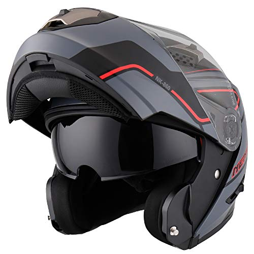 NENKI NK-860 Casco de moto Scooter de ciclomotor Scoop Flip Up Cascos...